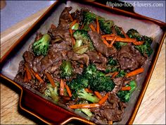 Beef with broccoli -- w/ginger & carrots