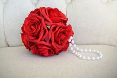 RED flower girl bouquet with Pearl Handle. red by KimeeKouture