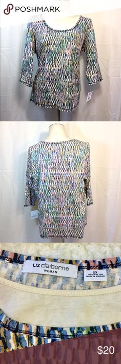 Liz Claiborne layered-look 3/4 sleeve top. NWT Great everyday top. Casual but chic! Liz Claiborne Tops