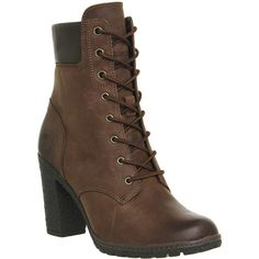 Timberland Glancy 6 Inch Heel Boots ($150) ❤ liked on Polyvore featuring shoes, boots, ankle booties, ankle boots, brown nubuck, women, brown boots, brown booties, brown lace up booties and brown ankle boots