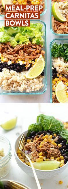 Healthy Meals Take an hour and make these delicious meal prep carnitas burrito bowls so that you can have an easy on-the-go meal ready for during the week! - Get inspired and eat well all week with these 25 Healthy Lunches For People Who Hate Salads! Lunch Snacks, Lunch Recipes, Mexican Food Recipes, Healthy Snacks, Healthy Eating, Healthy Recipes, Burrito Recipes, Recipes For Meal Prep, Baby Recipes
