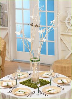 Centerpiece or buffet table decor. Manzanita branch w butterflies or an owl