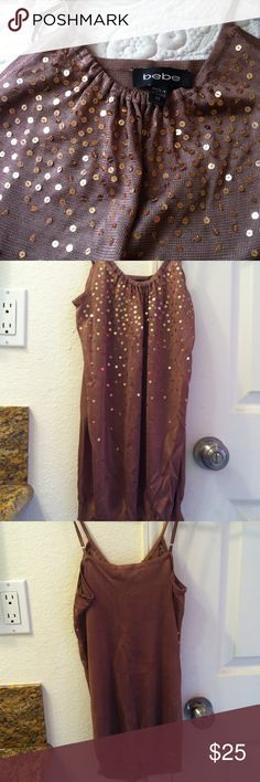 Bebe shirt for sale, worn once. Brown shirt with gold sparkles bebe Tops Blouses
