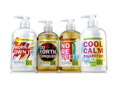 """Cleaning products designed with a colorful, modern twist and inspirational words... does it work? We think so. Clean graphics and simply typography gives Better Life a youthful, modern image."""