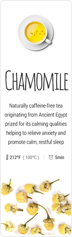 Fresh and soothing caffeine-free Chamomile tea from Egypt.