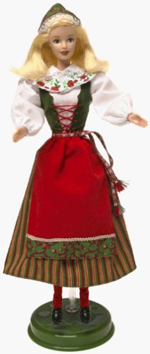 Swedish Barbie is wearing a traditional folk costume often worn for Midsummer. Her colorful dress with attached red apron and criss-cross flock vest is just right for the customarydancing that takes...