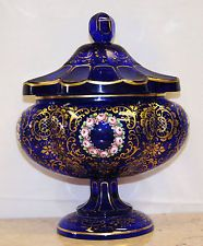 Antique Moser/Bohemian Glass Cobalt Blue Painted w/Enamel Lidded Dish Circa 1900
