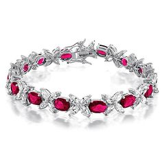 Christmas Gifts Flower CZ Marquise Oval Simulated Ruby Tennis Bracelet 7.5in Rhodium Plated � Jewelry from Selena