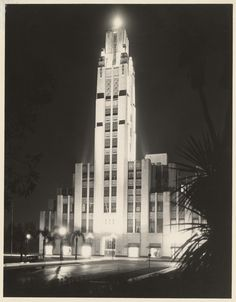 The soaring tower of the Bullocks Wilshire Department Store at night, 1920's