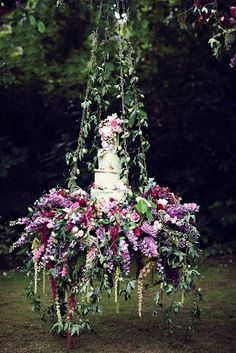 enchanted fairy tale wedding swing with floral wedding cake Floral Wedding, Rustic Wedding, Wedding Flowers, Trendy Wedding, Purple Wedding, Chic Wedding, Wedding Dresses, Wedding Colors, Enchanted Garden Wedding