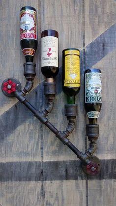 4 x Wine Bottle Wall Mount Rack Holder Steampunk Industrial Black Pipe Distressed Bar Loft Decor