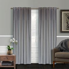 Vision Faux Silk Pleated Grommet Window Curtains (2 pieces)in Sidewalk Grey