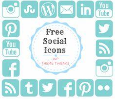 Free Social Media Icons Set - Pinterest, StumbleUpon, Twitter, Facebook, Instagram, Flickr, LinkedIn, RSS, Wordpress, Email, YouTube