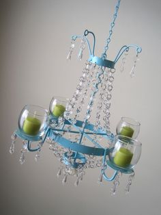 bright aqua crystal chandelier. I have no idea where I would put this, but I want it. #Etsy