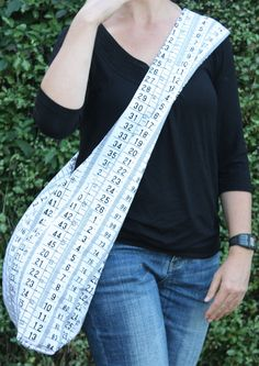 Sling tote bag in Measure Up fabric by teapotandsnail on Etsy, $60.00