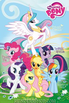 Posters: My Little Pony Poster - Fluttershy, Rainbow Dash, Rarity, Pinkie Pie… My Little Pony Party, My Little Pony Fotos, My Little Pony Names, Cumple My Little Pony, My Little Pony Poster, Little Pony Birthday Party, My Little Pony Characters, My Lil Pony, My Little Pony Pictures