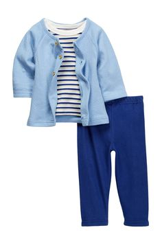 Striped Tee, Pointelle Cardigan & Knit Denim Pant Set (Baby Girls)