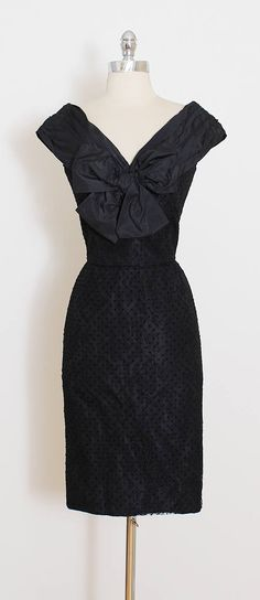 ➳ vintage 1950s dress * black silk taffeta * flocked polka dot print * floral lace tulle * silk taffeta lining * large bow accent * metal back zipper * by Lanvin condition | excellent - one tiny pinhead sized hole at back of collar. fits like xs/s length 38 bodice 15 bust 36 waist 25 hips 40 hem allowance 2.5 ➳ shop http://www.etsy.com/shop/millstreetvintage?ref=si_shop ➳ shop policies http://www.etsy.com/shop/millstreetvintage/polic...