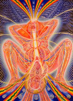 The moment I first heard love I gave up my soul, my heart, and my eyes. Mawlānā Jalālad-Dīn Rumi Birth - 1990, oil on linen, 60 x 40 in. Alex Grey