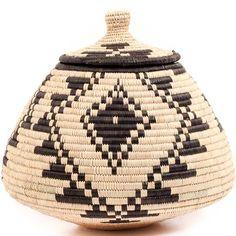 African Basket - Zulu Ilala Palm - Ukhamba - 10 Inches Tall - #56412