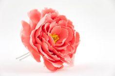 Peonies hair accessories Coral hair pins Red peonies flower hair clips Wedding…