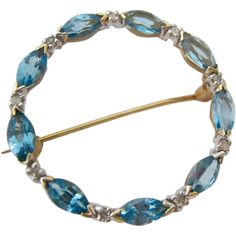 14K Circle Pin Brooch Blue Topaz and Diamonds