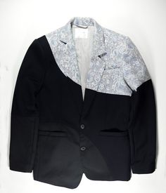 long sleeve jacket in circle cut panels of pastel blue brocade, navy wool and black garbardine sleeve placket with buttons genuine horn button sleeve placket for roll up sleeve comfortable fabric good for work and weekends  body: 50% poly, 49% cotton, 1% PU contrast: 100% wool; 100% wool size 48 (european size) (other sizes available upon request) made in hong kong  product code: P5W0110  *** FREE shipping to selected countries worldwide ***