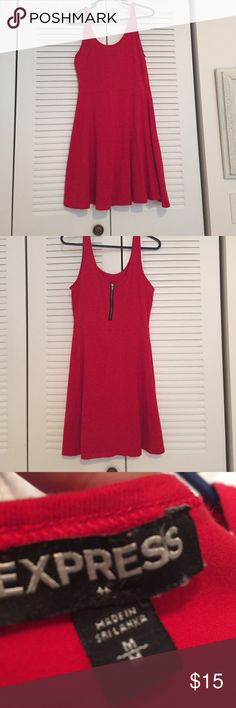 Express Red Fit and Flare Zipper Back Dress Express Red Fit and Flare Zipper Back Dress. Size Medium Express Dresses Mini