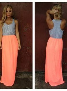 Neon Coral Maxi Dress with Grey Top and Button Detail,  Dress, maxi dress  neon  racerback, Casual