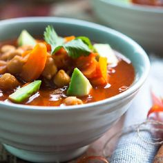 Spicy smoky chickpea soup with avocado