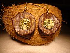 Coconut Earrings Wire Jewelry Dangled Earrings Brown by GaeaCrafts