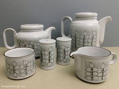 Items similar to Individual Hornsea Pottery Charisma pattern: teapot (tea pot), coffee pot, sugar bowl, salt & pepper shakers (pots) / / mint on Etsy
