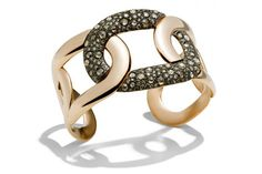 """Pomellato """"Tango"""" Cuff Bracelet with Brown Diamonds, 18k Rose Gold and Black Rhodium. (Available only in store or by telephone order)."""
