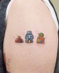 Line Art Tattoos, Body Art Tattoos, New Tattoos, Cool Tattoos, Tatoos, Spongebob Tattoo, Korea Tattoo, Tiny Bird Tattoos, Pineapple Tattoo