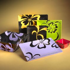square modern hawaiian plate set | Creativity Squared