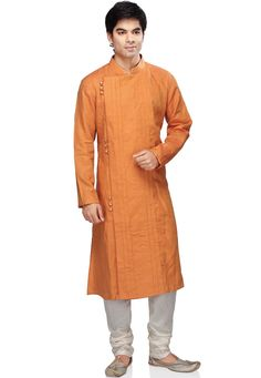 Orange Pure Linen Readymade Kurta With Churidar: Kurta Men, Mens Sherwani, Indian Men Fashion, Mens Fashion, Tunics For Sale, Gents Kurta, Indian Groom Wear, Kurta Style, Mens Kurta Designs