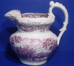 c-1830,Staffordshire Mulberry Transferware Pitcher