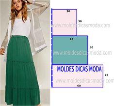 Molde e costura de saia longa casual - Moldes Moda por Medida
