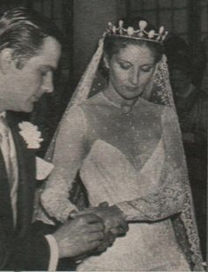 Princess Wanda de Ligne, wearing a large turquoise and diamond tiara, when she married Alfonso Gonzalo Perez de Guzman y Bustos on 6th April 1979.