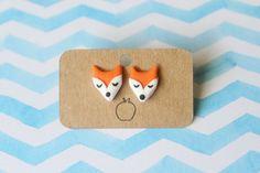 Fox stud earrings   handmade polymer clay charm   fox earrings   animal earrings   woodland   cute earrings   fox studs   orange earrings - by Fallen Apple Creations