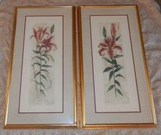 2 Lily Prints by Mary E. Davidson Lilies & Lace and Lily Lily Signed & Numbered Lily Lily, Vintage Art Prints, Lilies, Mary, Signs, Frame, Novelty Signs, Sign, Irises