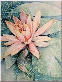 Koi and Water Lily    The water lily has come to be associated with purity, beauty, and peace. The unopened bud is representative of a folded soul that has the ability to unfold and open itself up to Divine truth.  The meaning associated with Koi fish is good fortune.     Evokes: Peace