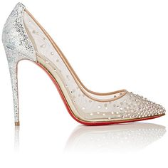 Christian Louboutin Women's Crystal-Embellished Follies Strass Pumps (€1.005) ❤ liked on Polyvore featuring shoes, pumps, heels, christian louboutin, sapatos, silver, high heeled footwear, embellished heel pumps, glitter shoes and glitter pumps