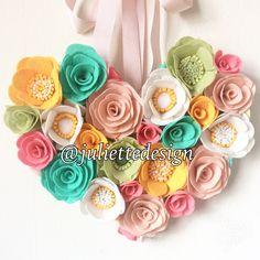 Heart Wall Decor, Heart Felt Flowers, Nursery Decoration, Wedding Decor, Wall Hanging by juliettesdesigntr on Etsy https://www.etsy.com/listing/534715249/heart-wall-decor-heart-felt-flowers