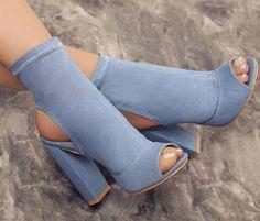 Lace Up Heels, Pumps Heels, Denim Heels, High Heel Boots, Heeled Boots, Ankle Boots, High Heel Stiefel, Frauen In High Heels, Thick Heels