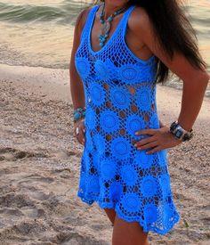 Cute cover-up for summer - Crochet Round Motif Dress - Free Crochet Diagram - (jane-crochet) Thread Crochet, Lace Knitting, Crochet Round, Knit Crochet, Bright Blue Dresses, Bikinis Crochet, Crochet Shirt, Crochet Woman, Lace Sleeves