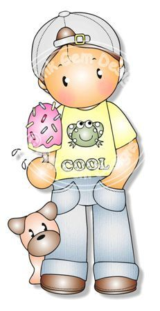 Digital Digi Andy with Ice Cream Stamp por PinkGemDesigns en Etsy