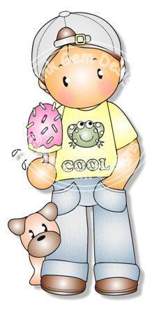 Digital Digi Andy with Ice Cream Stamp por PinkGemDesigns en Etsy