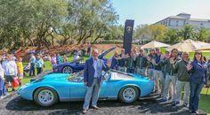 Valentino Balboni with Miura Roadster at Amelia Island Concours d'Elegance in Florida, celebrating Lamborghini's 50th Anniversary in 2013.