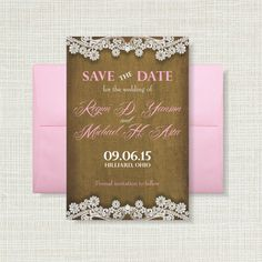 Burlap Lace and Pink Save the Date!  https://www.etsy.com/listing/211035414/burlap-and-lace-4x6-save-the-date-card